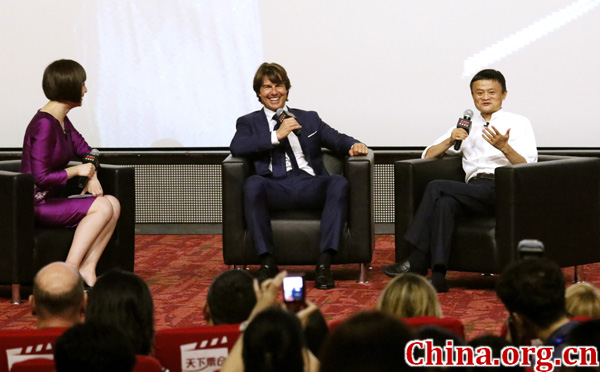 SHANGHAI, CHINA - SEPTEMBER 06: Jack Ma talks to Tom Cruise at the Shanghai premiere of Mission: Impossible - Rogue Nation at the Shanghai Film Center on August 6, 2015 in Shanghai, China. (Photo by Kevin Lee/Getty Images for Paramount Pictures International) *** Local Caption *** Tom Cruise; Jack Ma
